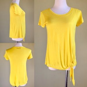 Rosebud Tops - Rosebud Yellow Jersey Side-Tie Blouse Size S 4 6