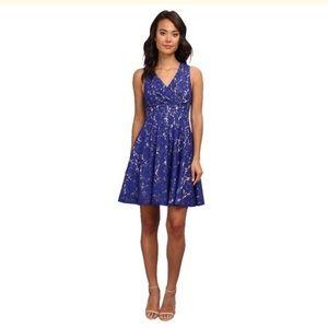 Eliza J - ELIZA J PURPLE BLUE FLORAL FIT N FLARE DRESS 14 from ...