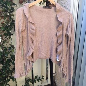 ZARA womens Ruffle cardigan size S beige  sweater