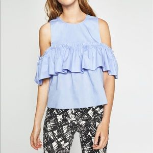 Zara Ruffled Cold Shoulder Cotton top, small
