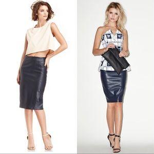 BLAQUE LABEL Dresses & Skirts - BNWT BLAQUE LABEL VEGAN LEATHER PENCIL SKIRT NAVY
