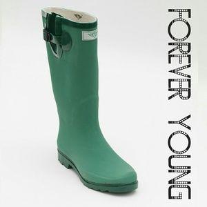 Women Tall Matte Rainboots, #1518 Green