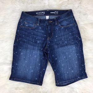 Sonoma Pants - Sonoma Star Print Bermuda Denim Shorts