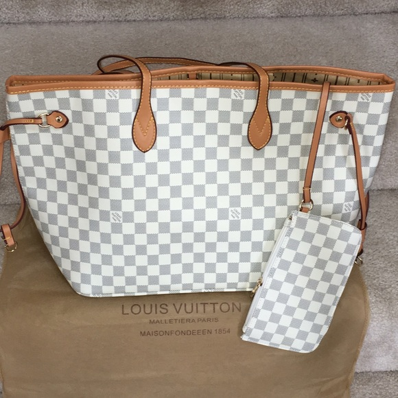 bf8c2dc69dff Louis Vuitton Handbags - Designer Inspired white checkered neverfull azur