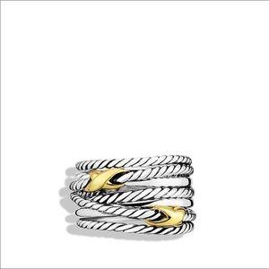 David Yurman Jewelry - David Yurman double X crossover ring, 18K gold
