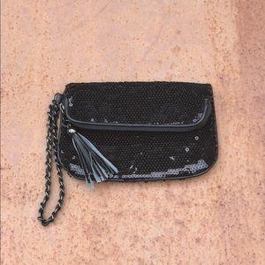 Express Black Sequin Clutch