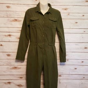 "Pants - Army green ""micro suede""  jumpsuit"