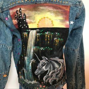 Jackets & Coats - Hand Painted Vintage Denim Jean Levis Jacket