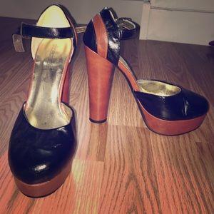 Brown/Black Mary Jane platform heel
