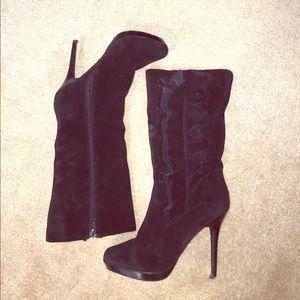 Diba Shoes - Diba Black Suede Ruffle Stiletto Boot