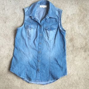 Two by Vince Camuto Tops - Vince Camuto Denim Button Up Tank