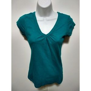 SO Tops - SO blue-green v-neck shirt