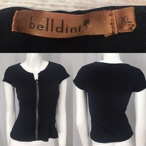 Belldini Tops - 🌴Sz XL Belldini Black Cap Sleeve Front Zip Top