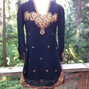 Tops - Earth tone embroidery on black tunic