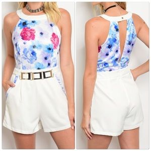 Pants - Floral Romper with Attached Belt