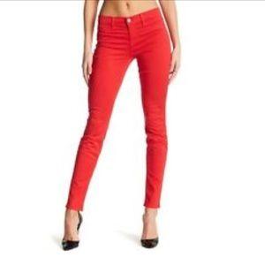 Lipstick red J brand skinny jeans