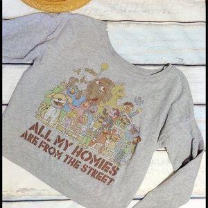 Sesame Street Tops - Sesame Street Off Shoulder Pullover Sweatshirt