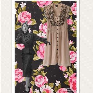 H&M Blush Pink & Black Ruffled Chiffon Dress
