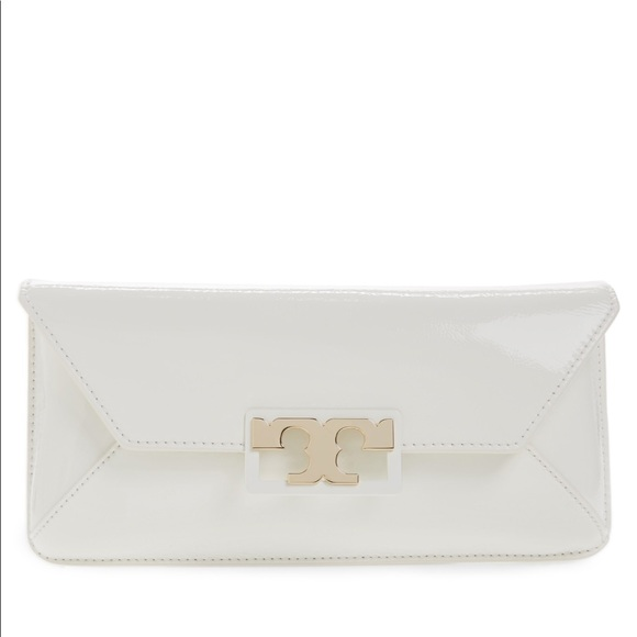 4ef426508d8 Tory Burch Gigi Caviar Leather Clutch-White