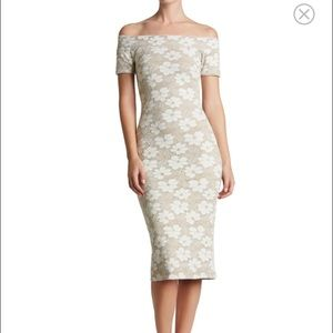 Off the Shoulder Stretch Midi Dress