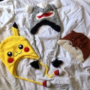 Pokemon Other - beanies bundle. Pikachu, fox, & sock monkey.
