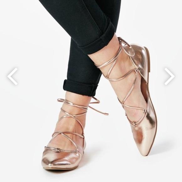 JustFab Shoes - Rose Gold Lace Up Flats
