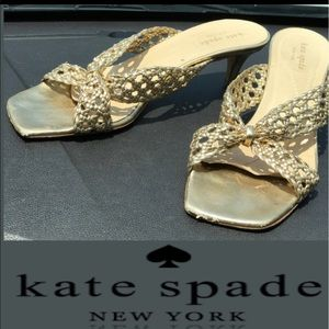 Kate Spade Low metallic peep toe heel(needs caps)