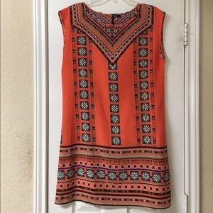 Boutique Coral Tribal Print Shift Dress
