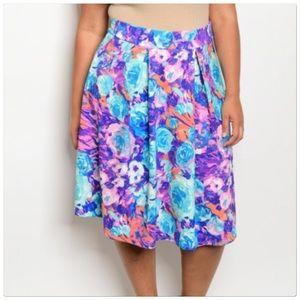 Dresses & Skirts - Plus Size Mid Waist Floral Print Midi Skirt
