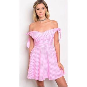 Just In! Pink/White Off Shoulder Dress