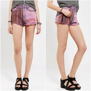 Urban Outfitters Pants - BDG Pink Fray High Rise Studded Denim Shorts