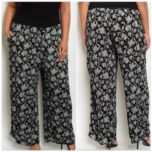 Pants - Floral Mid Waist Print Wide Pants