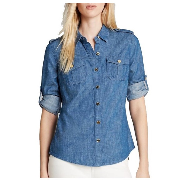 63 off tory burch tops tory burch chambray button front for Tory burch button down shirt