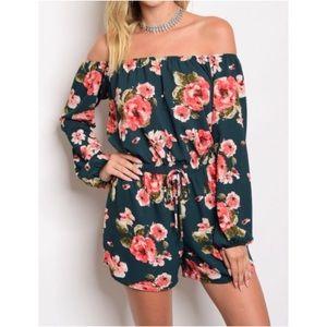 Pants - ONLY A FEW LEFT! Floral Off Shoulder Romper