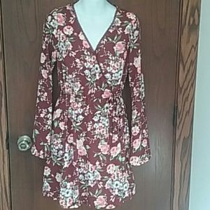 Xhilaration Dresses & Skirts - Burgundy Floral Bell Sleeve Wrap Dress