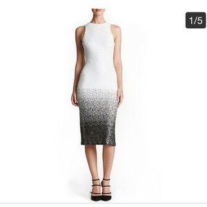 White & Black Ombré Sequin Midi Dress
