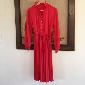 Vintage Red 70's Ruffle Dress