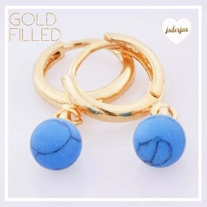 Other - Little girls gold filled marbled blue bead earring