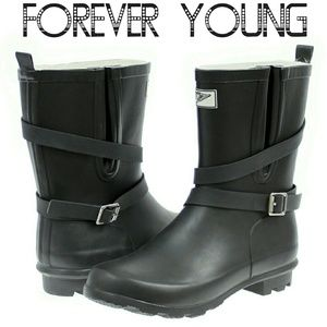 Women Mid Calf Rain Boots, #1414, Black