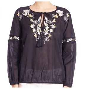 Tory Burch Tops - Tory Burch Navy Floral Embroidered Peasant Top
