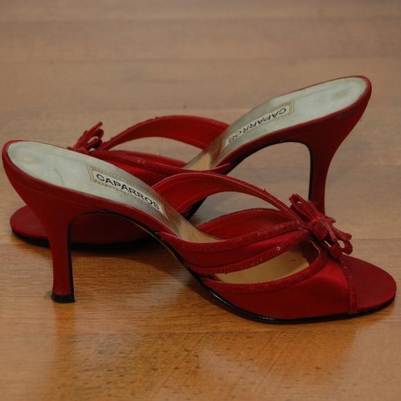 red strappy kitten heels