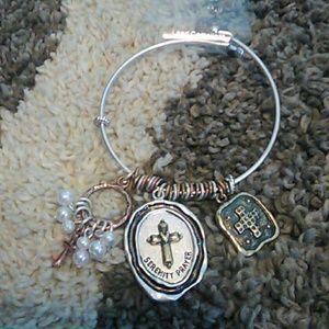 Serenity prayer silver and rose gold bracelet
