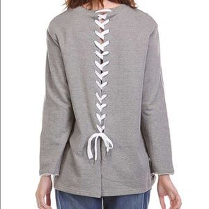 Mono B Tops - NWOT Grey Lace-Up Back Sweatshirt