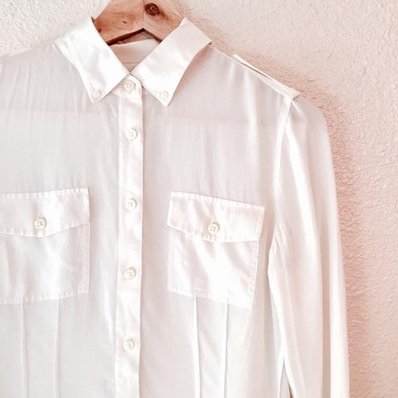 50 off banana republic tops banana republic 100 silk for Silk button down shirt