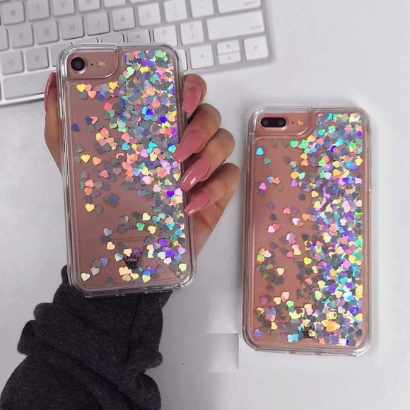 da0698b70919 iPhone Holographic Heart Liquid Glitter Case