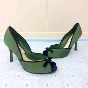 Lela Rose Shoes - Lela Rose | Green & Black Bow Heels