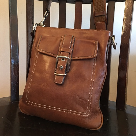 coach bags brown leather sling bag poshmark rh poshmark com coach pebbled leather sling bag