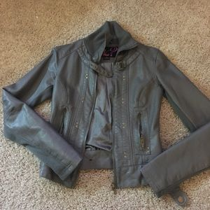 Gray leather jacket by Say What