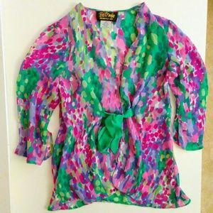 Bob Mackie Tops - BOB MACKIE Wearable Art 100% Silk Blouse / Robe