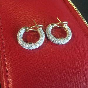 Jewelry - ✨Authentic✨ 14k DIAMOND PAVE HOOP EARRINGS